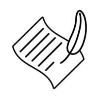 documento de hoja de papel con icono de estilo de línea de pluma vector
