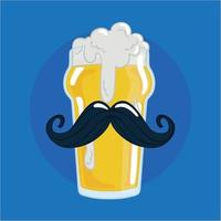 Isolated beer drinking glass with a mustache and foam vector