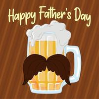 Father's day poster with a drinking glass with a mustache and foam Vector