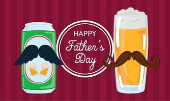 Father's day poster with a drinking glass and a beer can vector
