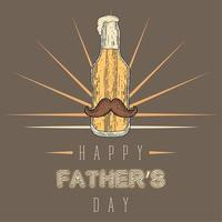Vintage Father's day poster with a beer bottle with a mustache and foam vector