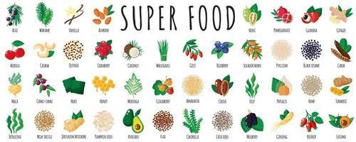 gran set de súper comida saludable vector