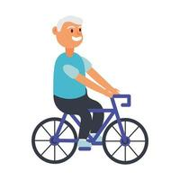 old man riding bicycle avatar character vector