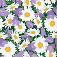 Patrón floral sin fisuras flor campanilla y manzanilla prado flores silvestres fondo de campo de verano vector