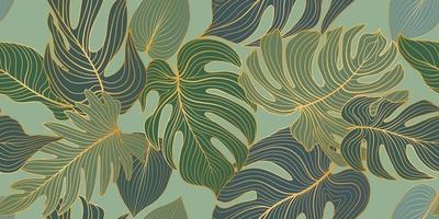 Floral seamless pattern with tropical leaves and flowers Nature lush background Flourish garden texture with line art leaves vector