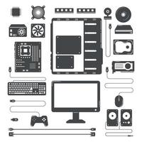 Computer hardware parts icon sign Vector illustration