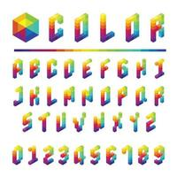 Alphabet font type colorful box style Vector illustration
