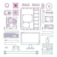 Computer hardware parts icon sign line design Vector illustration