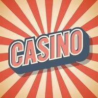 Ilustración de vector de etiqueta de iluminación de casino cartel retro