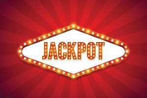 Jackpot text electric bulbs billboard Retro light frames Vector illustration