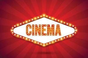 Cinema text electric bulbs billboard Retro light frames Vector illustration