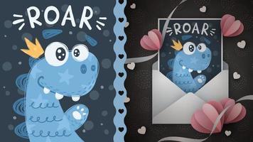 Princess dino idea for greeting card vector