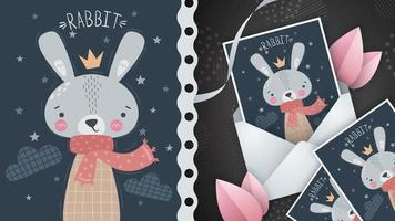 Night princess rabbit idea for greeting card vector