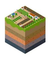 Forest farm Soil layers geological and underground vector