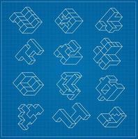 cubo tridimensional abstracto vector