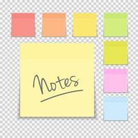 conjunto de notas de papel adhesivo vector