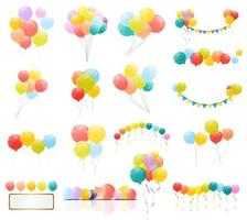 Group of Colour Glossy Helium Balloons Isolated. Set of Balloons and Flags for Birthday Anniversary Celebration. Party Decorations vector