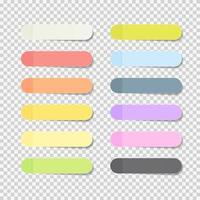 hojas de papel de oficina pegajosas. conjunto de colección de paquetes de notas con sombra aislada. vector