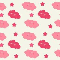 Children's Seamless Pattern Background with Sun, Clouds and Stars vector