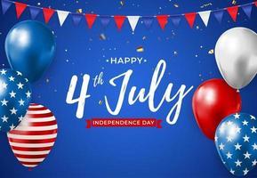 4 de julio día de la independencia en el fondo de estados unidos. se puede utilizar como pancarta o póster vector