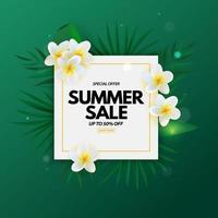 Summer sale poster. Natural Background with Tropical Palm Leaves and exotic plumeria flower vector