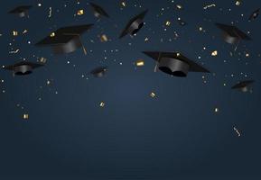 cartel de la clase de graduación con gorro de graduación y confeti vector