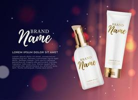 3D Realistic Natural beauty cosmetic product for face or body care on glossy bokeh background. Design Template of Fashion Cosmetics Product for Ads, flyer or Magazine Background. vector