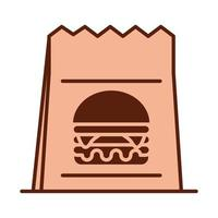 paper bag fast food dinner and menu tasty meal and unhealthy line and fill icon vector