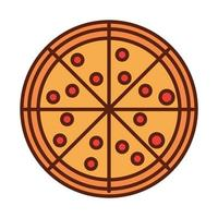 fast food pizza dinner and menu tasty meal and unhealthy line and fill icon vector