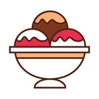 fast food scoops ice cream in bowl dinner and menu tasty meal and unhealthy line and fill icon vector