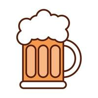 fast food beer drink dinner and menu tasty meal and unhealthy line and fill icon vector