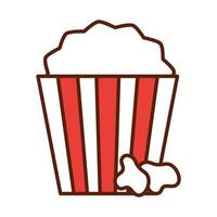 fast food pop corn in bucket dinner and menu tasty meal and unhealthy line and fill icon vector