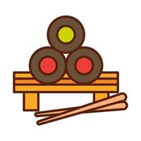japanese sushi with sticks fast food dinner and menu tasty meal and unhealthy line and fill icon vector