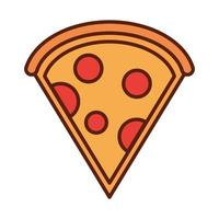 fast food slice pizza dinner and menu tasty meal and unhealthy line and fill icon vector