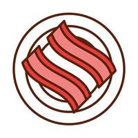 fast food bacon in plate dinner and menu tasty meal and unhealthy line and fill icon vector