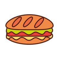 sandwich fast food tasty dinner and menu meal and unhealthy line and fill icon vector