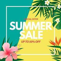 Summer sale poster Natural Background with Tropical Palm and Monstera Leaves and exotic flower vector