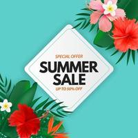 Summer sale poster. Natural Background with Tropical Palm and Monstera Leaves, exotic flower. vector
