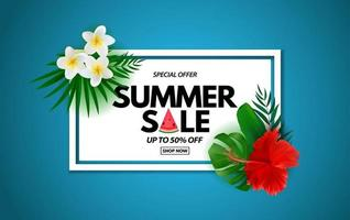 Summer sale poster. Natural Background with Tropical Palm Leaves, exotic plumeria and hibiscus flower vector