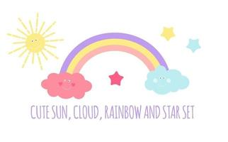 Children's Background with Sun, Cloud and Stars vector