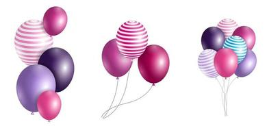 Group of Colour Glossy Helium Balloons Isolated. Set of Balloons for Birthday Anniversary Celebration. Party Decorations vector