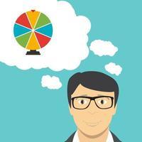 El empresario piensa en el icono de la suerte de la rueda de la fortuna vector