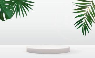 Realistic 3d pedestal over sunny background with palm leaves. Trendy empty podium display for ads cosmetic product presentation, fashion magazine. vector