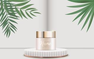 3D Realistic Natural beauty cosmetic product for face or body care background. Design Template of Fashion Cosmetics Product for Ads, flyer or Magazine Background vector