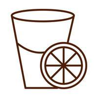 healthy food fresh nutrition delicious juice with orange slice line style icon vector