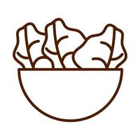 healthy food fresh vegetable raw ingredient bowl with salad line style icon vector