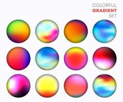 Colorful gradient set with the blurred circle background design Vector illustration