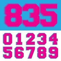 Retro number 0 1 2 3 4 5 6 7 8 9 neon vintage style Vector illustration