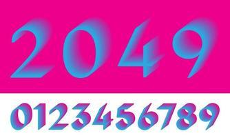 Retro number 0 1 2 3 4 5 6 7 8 9 gradient vintage color Vector illustration