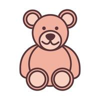 baby teddy bear toy object newborn template line and fill design icon vector